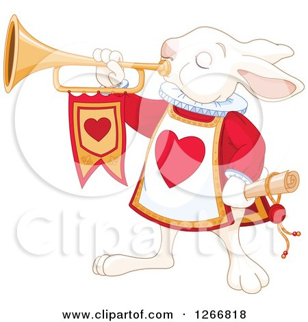 Clipart of the Alice in Wonderland White Rabbit Herald Announcing with a Trumpet - Royalty Free Vector Illustration by Pushkin