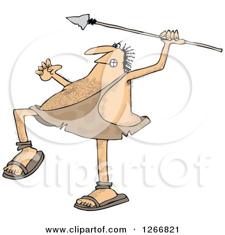 Clipart of a Hairy Caveman Throwing a Spear - Royalty Free Vector Illustration by djart
