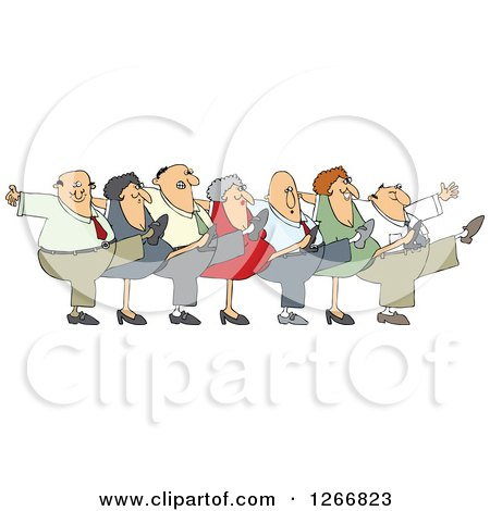 Clipart of a Can Can Chorus Line of Business Men and Women Dancing - Royalty Free Vector Illustration by djart