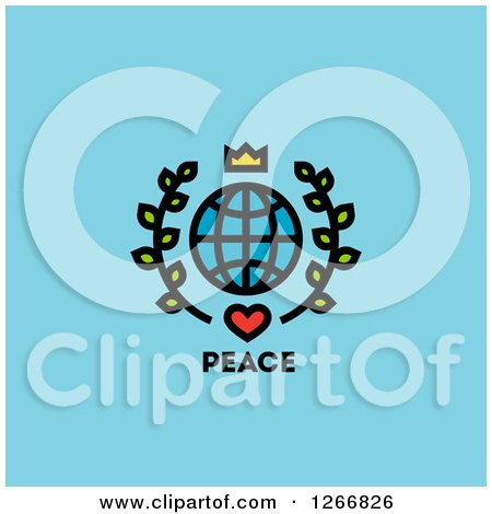 Clipart of a Crown over a Grid Globe with Leaves and Heart over Peace Text on Blue - Royalty Free Vector Illustration by elena