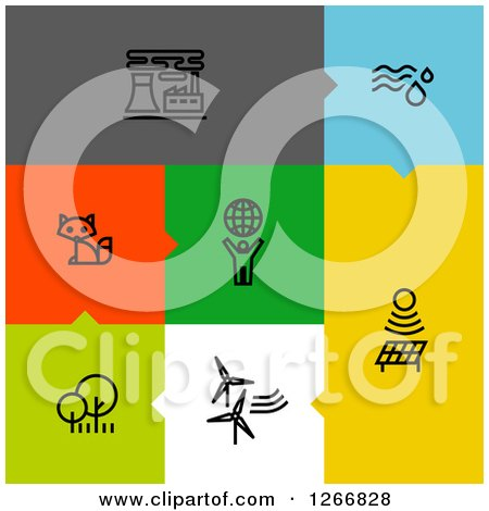 Clipart of Black Ecology Icons on Colorful Tiles - Royalty Free Vector Illustration by elena