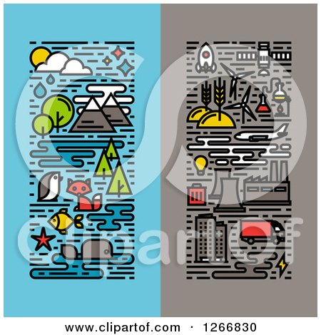 Clipart of Vertical Ecology Deisgns - Royalty Free Vector Illustration by elena