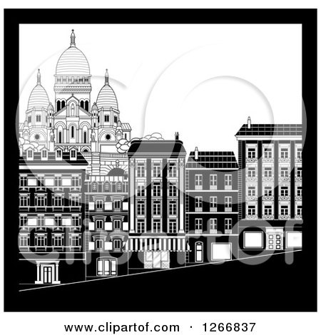 Preview Clipart Black And White City Buildings In Montmarte Of A