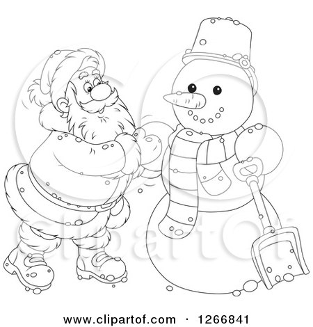 Clipart of Black and White Santa Claus Finishing up a Christmas Snowman - Royalty Free Vector Illustration by Alex Bannykh