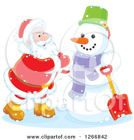 Clipart of Santa Claus Finishing up a Christmas Snowman - Royalty Free Vector Illustration by Alex Bannykh