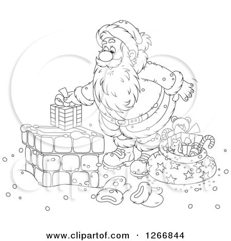 Clipart of Black and White Santa Claus Putting a Gift in a Chimney - Royalty Free Vector Illustration by Alex Bannykh