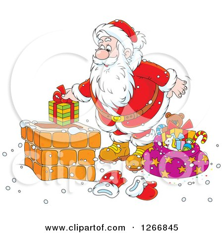 Clipart of Santa Putting a Gift in a Chimney - Royalty Free Vector Illustration by Alex Bannykh