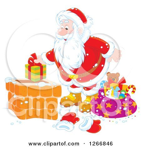 Clipart of Santa Claus Putting a Gift in a Chimney - Royalty Free Vector Illustration by Alex Bannykh