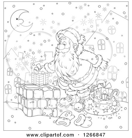 Clipart of Black and White Santa Claus Putting a Gift in a Chimney on Christmas Eve - Royalty Free Vector Illustration by Alex Bannykh