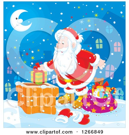 Clipart of Santa Claus Putting a Gift in a Chimney on Christmas Eve - Royalty Free Vector Illustration by Alex Bannykh