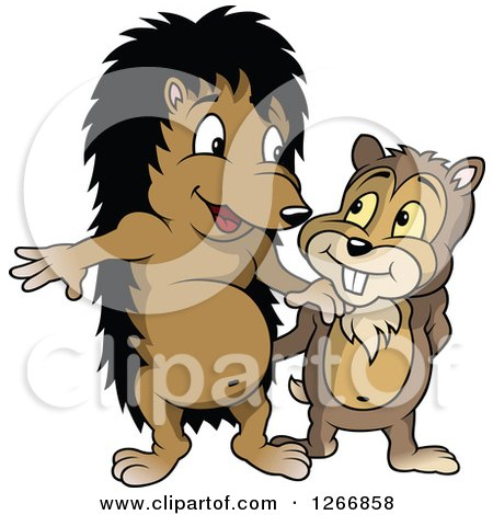 Clipart of a Hedgehog and Gopher - Royalty Free Vector Illustration by dero