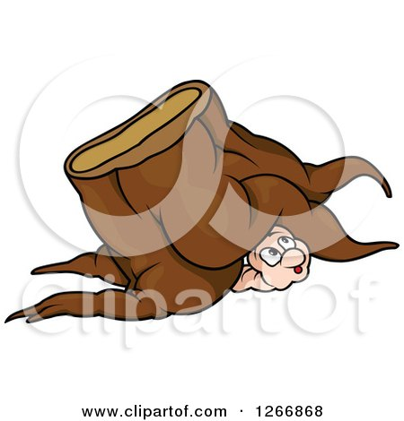 Clipart of a Worm Peeking out from Under a Tree Stump - Royalty Free Vector Illustration by dero