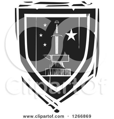 Clipart of a Black and White Woodcut Heraldic Sword and Anvil Shield - Royalty Free Vector Illustration by xunantunich