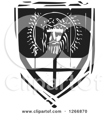 Clipart of a Black and White Woodcut Heraldic Jesus Christ Shield - Royalty Free Vector Illustration by xunantunich