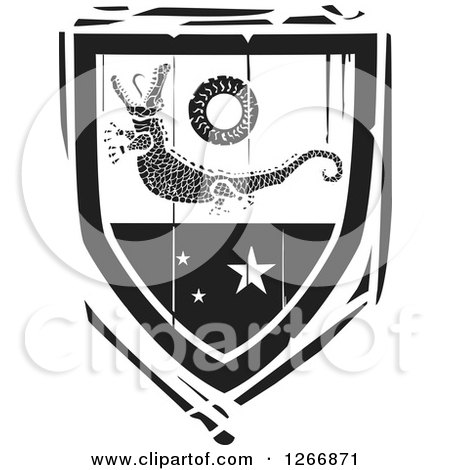 Clipart of a Black and White Woodcut Heraldic Crocodile Shield - Royalty Free Vector Illustration by xunantunich
