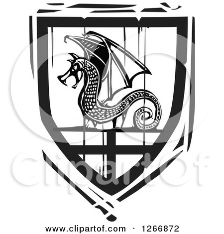 Clipart of a Black and White Woodcut Heraldic Dragon Shield - Royalty Free Vector Illustration by xunantunich