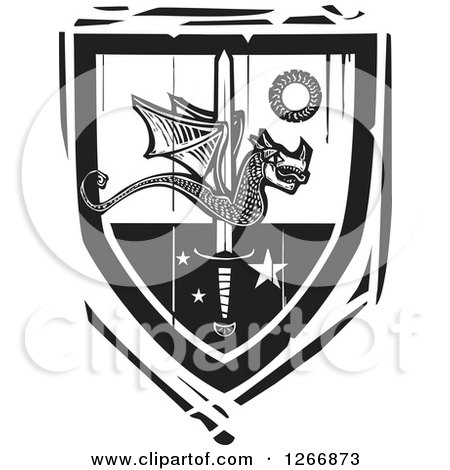 Clipart of a Black and White Woodcut Heraldic Dragon and Sword Shield - Royalty Free Vector Illustration by xunantunich