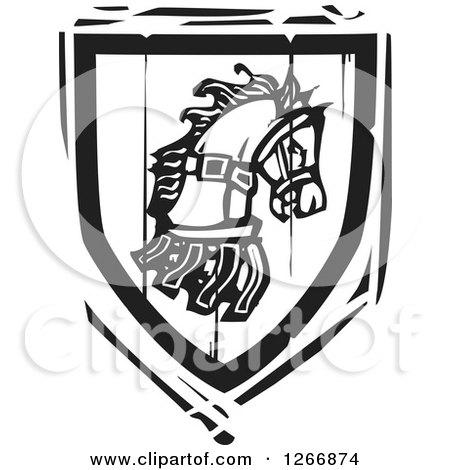 Clipart of a Black and White Woodcut Heraldic Horse Shield - Royalty Free Vector Illustration by xunantunich