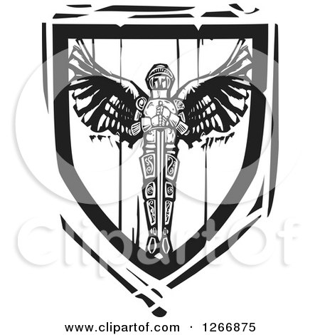 Clipart of a Black and White Woodcut Heraldic Winged Knight and Sword Shield - Royalty Free Vector Illustration by xunantunich