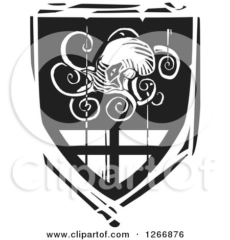 Clipart of a Black and White Woodcut Heraldic Octopus Shield - Royalty Free Vector Illustration by xunantunich