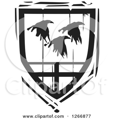 Clipart of a Black and White Woodcut Heraldic Flying Ravens Shield - Royalty Free Vector Illustration by xunantunich