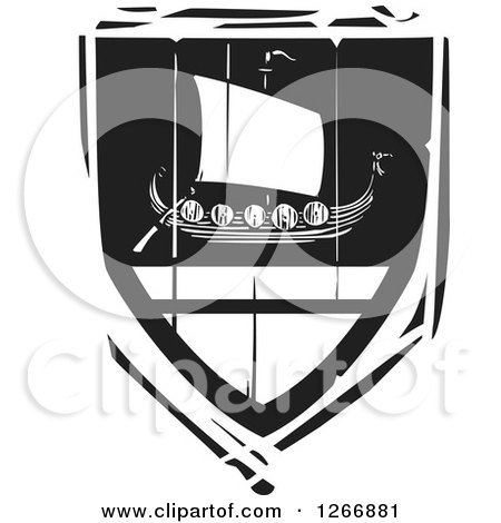 Clipart of a Black and White Woodcut Heraldic Viking Longship Shield - Royalty Free Vector Illustration by xunantunich