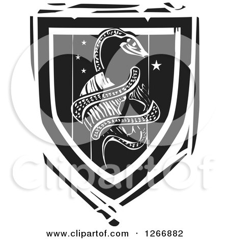 Clipart of a Black and White Woodcut Heraldic Midgard Serpent Coiled Around Planet Earth Shield - Royalty Free Vector Illustration by xunantunich