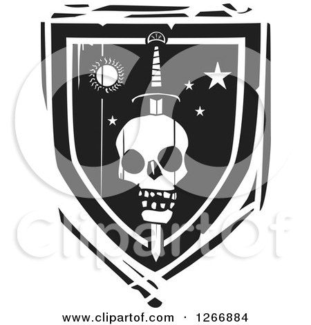 Black and White Woodcut Heraldic Sword Through a Skull Shield Posters, Art Prints