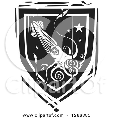 Clipart of a Black and White Woodcut Heraldic Squid Shield - Royalty Free Vector Illustration by xunantunich