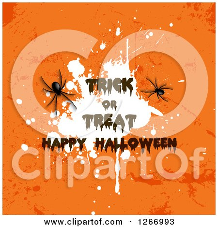 Clipart of Trick or Treat Happy Halloween Text over a White Splatter on Grungy Oragne with Spiders - Royalty Free Vector Illustration by KJ Pargeter