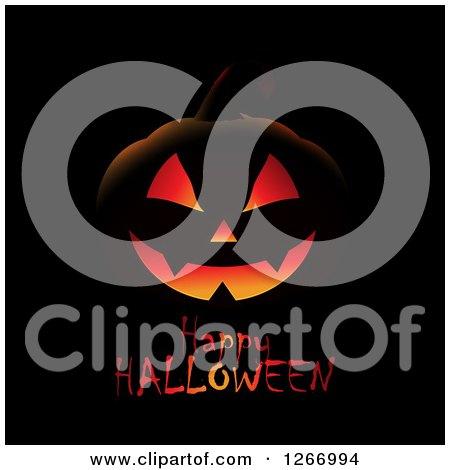 Clipart of a Lit Jackolantern Pumpkin over Happy Halloween Text on Black - Royalty Free Vector Illustration by KJ Pargeter