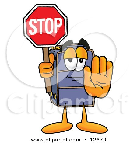 Clipart Picture of a Suitcase Cartoon Character Holding a Stop Sign by Toons4Biz