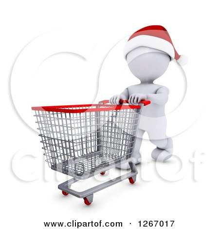 Clipart of a 3d White Man Christmas Shopping and Pushing an Empty Cart - Royalty Free Illustration by KJ Pargeter