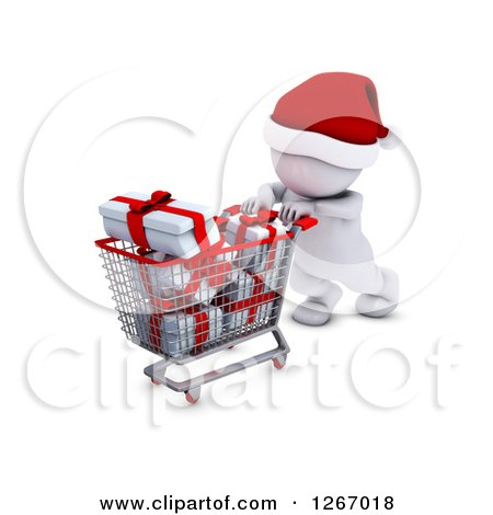 Clipart of a 3d White Man Christmas Shopping and Pushing a Cart Full of Gifts - Royalty Free Illustration by KJ Pargeter