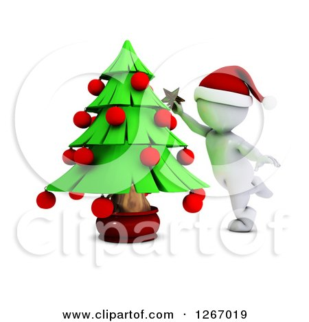 Clipart of a 3d White Man Decorating a Christmas Tree - Royalty Free Illustration by KJ Pargeter