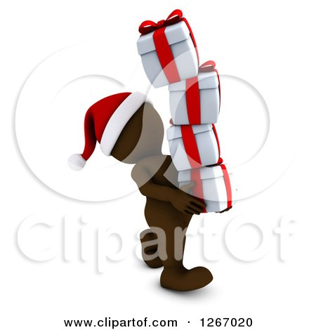 Clipart of a 3d Brown Man Carrying a Stack of Christmas Gifts - Royalty Free Illustration by KJ Pargeter