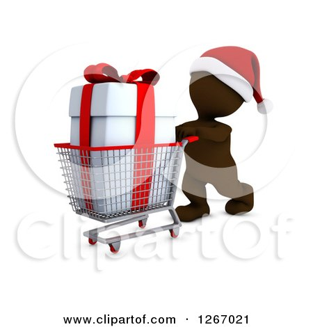 Clipart of a 3d Brown Man Christmas Shopping and Pushing a Big Gift in a Cart - Royalty Free Illustration by KJ Pargeter