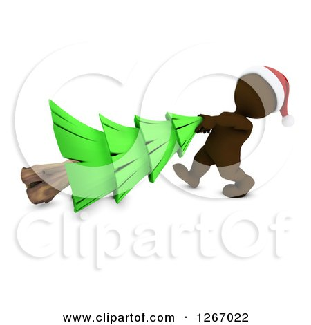 Clipart of a 3d Brown Man Pulling a Christmas Tree - Royalty Free Illustration by KJ Pargeter