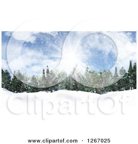 Clipart of a Background of Sunshine over Evergreens in the Snow - Royalty Free Illustration by KJ Pargeter