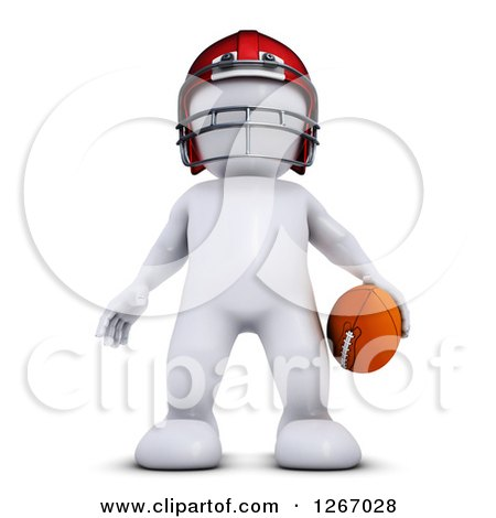 Clipart of a 3d White Man Standing with a Football - Royalty Free Illustration by KJ Pargeter