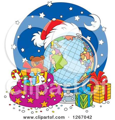 Clipart of a Christmas Desk Globe with a Santa Hat, Sack and Gifts - Royalty Free Vector Illustration by Alex Bannykh