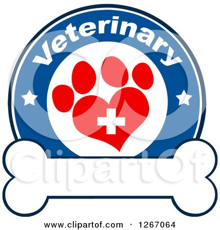 Clipart of a Blue and White Veterinary Circle of a Cross in a Red Heart Shaped Paw Print with Stars over a Bone - Royalty Free Vector Illustration by Hit Toon