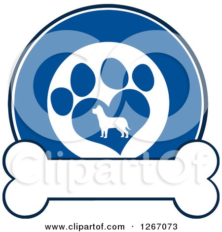 Clipart of a Blue and White Circle of a Silhouetted Dog in a Heart Shaped Paw Print over a Bone - Royalty Free Vector Illustration by Hit Toon
