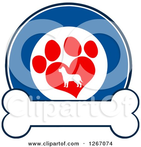 Clipart of a Blue and White Circle of a Silhouetted Dog in a Red Heart Shaped Paw Print over a Bone - Royalty Free Vector Illustration by Hit Toon