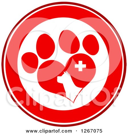 Clipart of a Red and White Circle of a Dog Head in a Heart Shaped Paw Print with a Veterinary Cross - Royalty Free Vector Illustration by Hit Toon