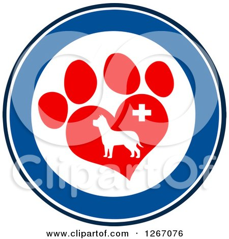 Clipart of a Blue and White Circle of a Dog in a Red Heart Shaped Paw Print with a Veterinary Cross - Royalty Free Vector Illustration by Hit Toon