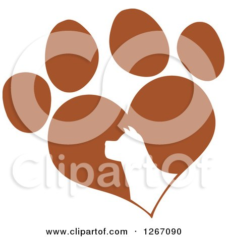 Clipart of a White Silhouetted Dog Head in a Brown Heart Shaped Paw Print - Royalty Free Vector Illustration by Hit Toon