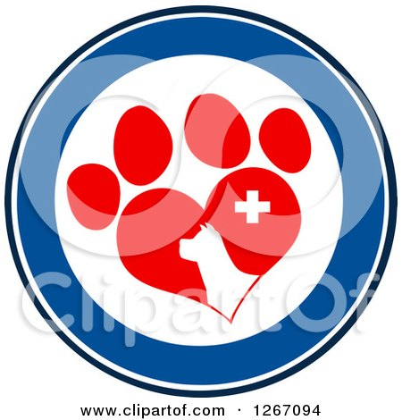 Clipart of a Blue and White Circle of a Dog Head in a Red Heart Shaped Paw Print with a Veterinary Cross - Royalty Free Vector Illustration by Hit Toon