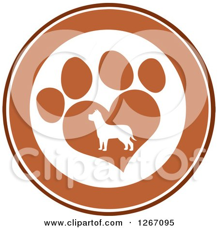 Clipart of a Brown and White Circle of a Silhouetted Dog in a Heart Shaped Paw Print - Royalty Free Vector Illustration by Hit Toon