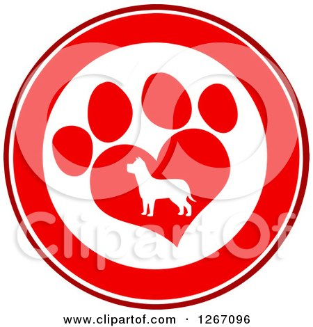 Clipart of a Red and White Circle of a Silhouetted Dog in a Heart Shaped Paw Print - Royalty Free Vector Illustration by Hit Toon